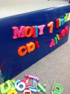 Writing with magnetic letters