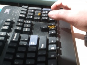 Ashley is reaching for the enter key