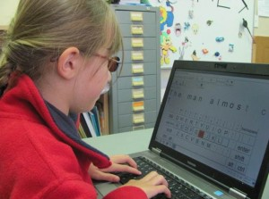 Dulcie using the TypeFaster programme