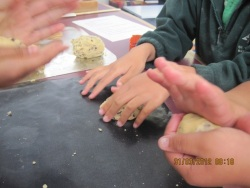 Wikitoria is kneading dough