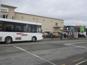A bus in a carpark